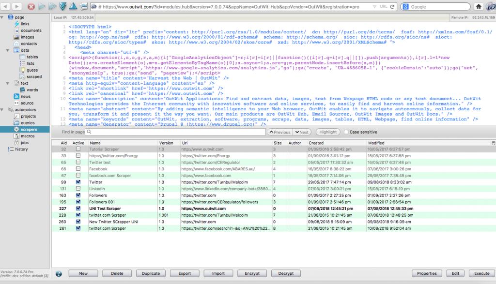 Screenshot of Outwit Hub